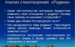 Анализ стихотворения «родина» (м. ю. лермонтов)