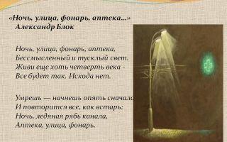 Анализ стихотворения «ночь, улица, фонарь, аптека…» а.а. блока