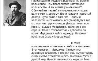 Анализ рассказа «чудесный доктор» (а. куприн)