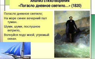 Анализ стихотворения «погасло дневное светило» (а. с. пушкин)