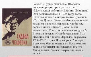 Анализ рассказа «судьба человека» (м.а. шолохов)