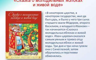 Краткое содержание сказки о молодильных яблоках и живой воде для читательского дневника