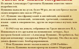 Интересные факты о а. с. пушкине