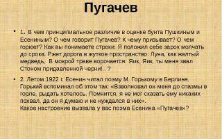 Оценка пугачевского бунта пушкиным и есениным