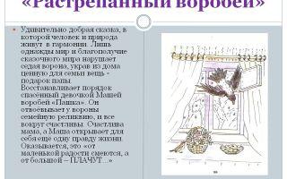 Кратчайшее содержание сказки «растрепанный воробей» для читательского дневника (к. паустовский)