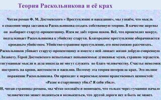 Краткое сочинение: теория раскольникова и её крах