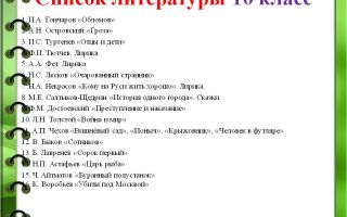 Список литературы на лето для 10 класса