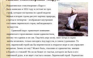 Анализ стихотворения «парус» (м. ю. лермонтов)