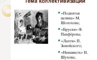 Тема коллективизации в книге м. шолохова «поднятая целина»