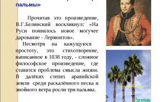 Анализ стихотворения «три пальмы» (м.ю. лермонтов)