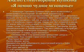 Анализ стихотворения пушкина «я помню чудное мгновение»